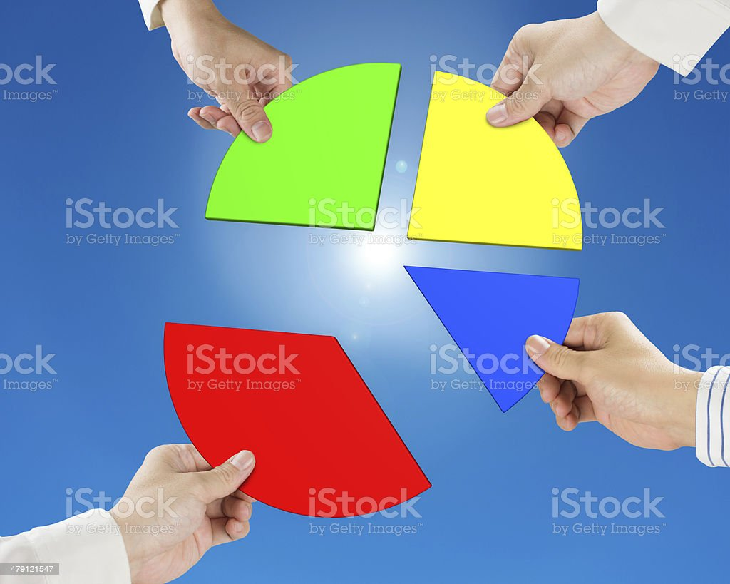 Hand holding pie chart 3d royalty-free stock photo