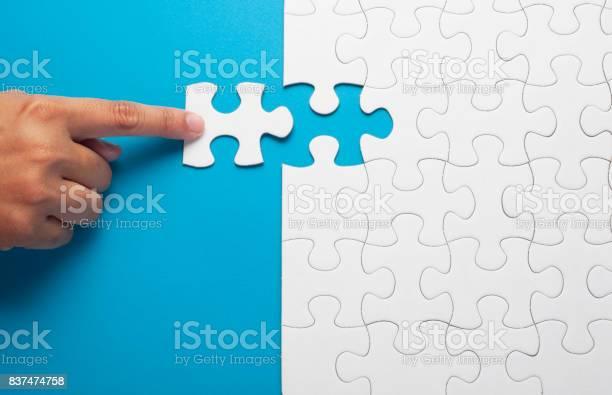 Hand holding piece of white puzzle on blue background picture id837474758?b=1&k=6&m=837474758&s=612x612&h=kx6qqzpwyspy5lhmttf76fntuzelw6ttuz5lumdjvv4=