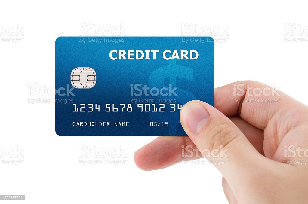Hand holding plastic credit card Hand holding plastic credit card Adult Stock Photo