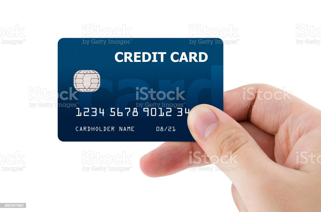 Hand holding plastic credit card – zdjęcie