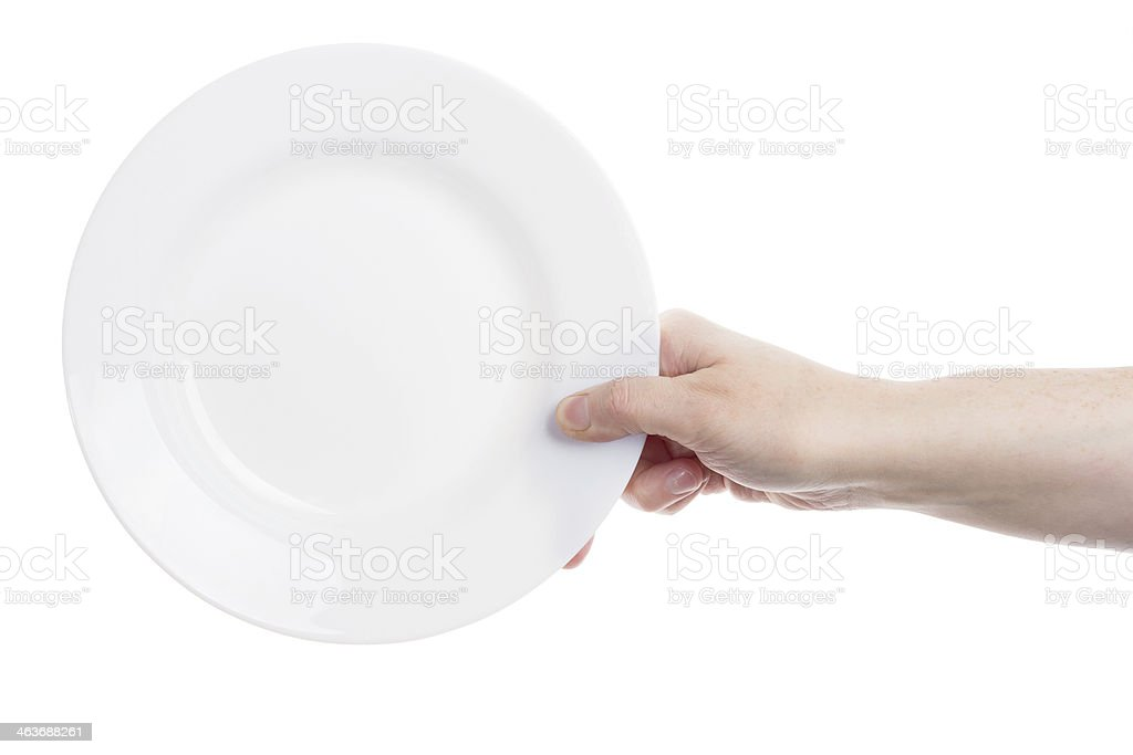 Hand holding plate stock photo