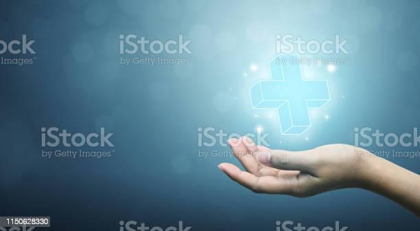 Hand Holding Plus Zeichen Virtuell Bedeutet Positive Sache