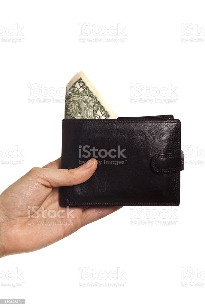 hand holding purse with dollar royalty-free stock photo