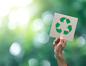 istock Hand holding recycle symbol on green bokeh background. eco and save the earth concept. 1023963786