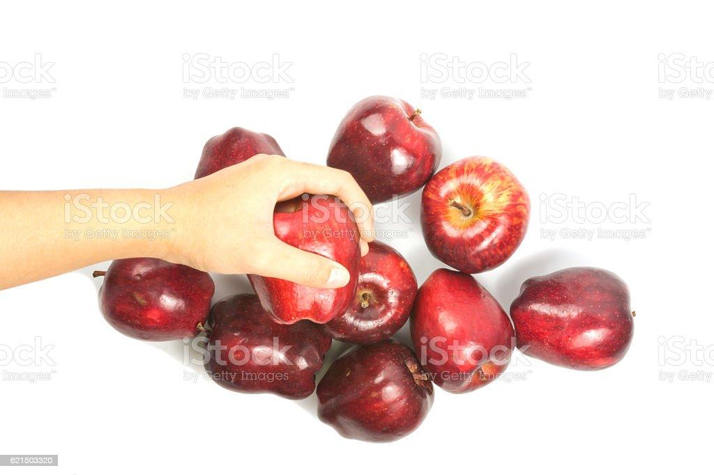 hand holding roten Apfel Lizenzfreies stock-foto