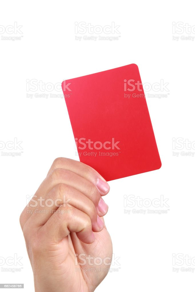Hand  holding red card stock photo