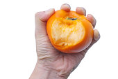 Hand holding ripe persimmon with bite mart