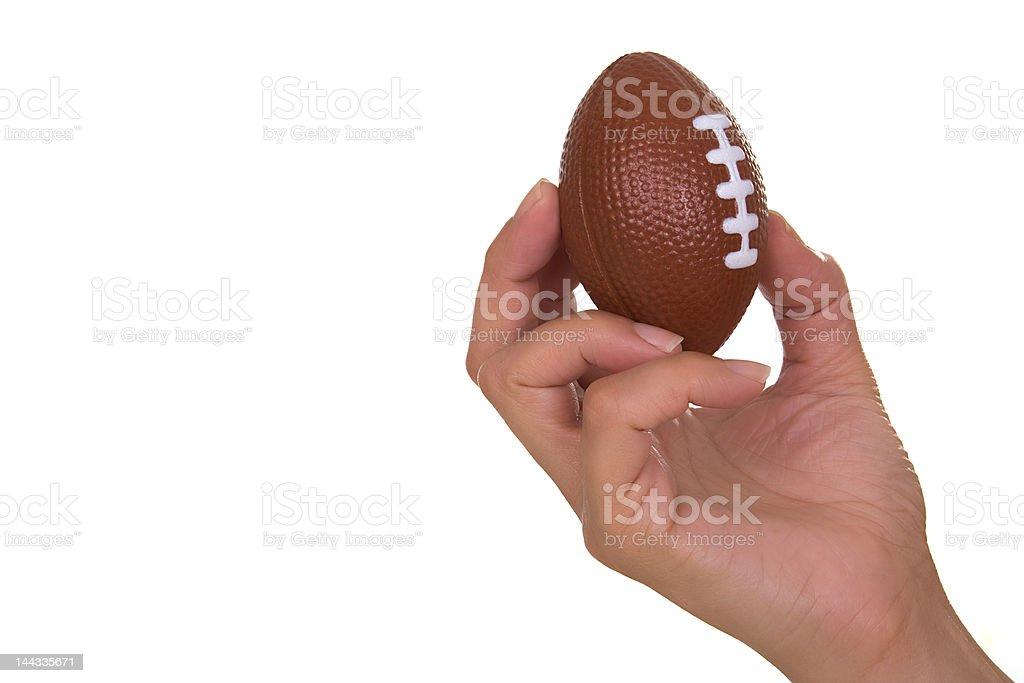 Mão segurando Bola de Râguebi - fotografia de stock