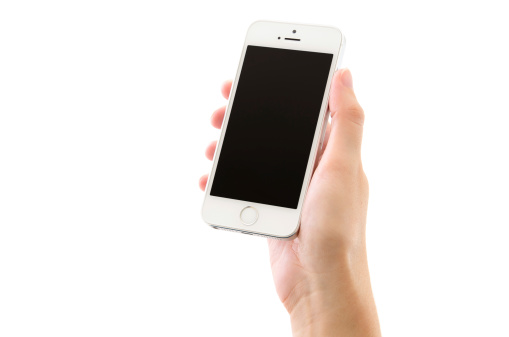 Hand Holding Silver iPhone 5s with Black Screen