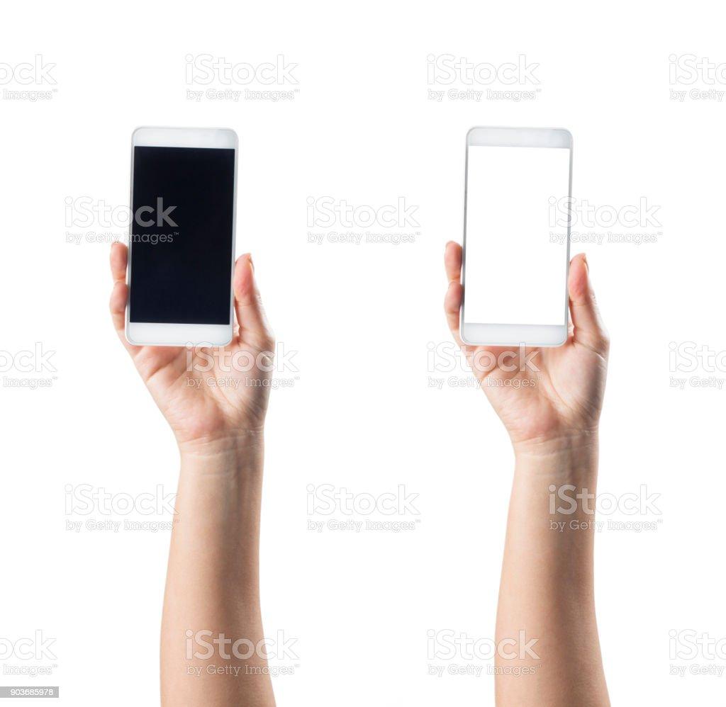 Hand halten Smartphone isoliert auf weißem Hintergrund – Foto