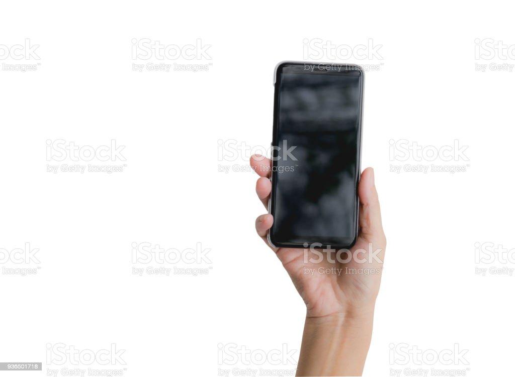 Hand mit Smartphone isoliert auf weißem Hintergrund. Technologie und Kommunikationskonzept. – Foto