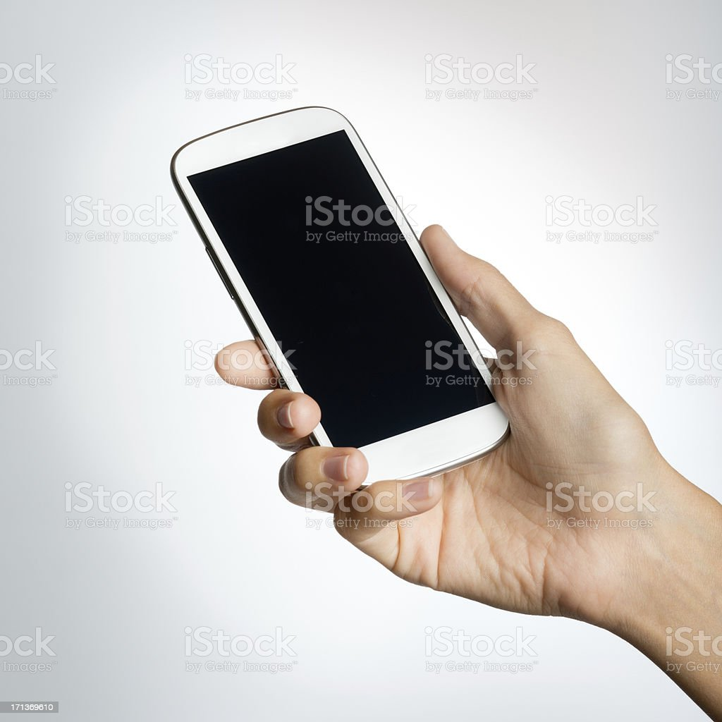 Hand holding Smart Phone (XXXL) royalty-free stock photo