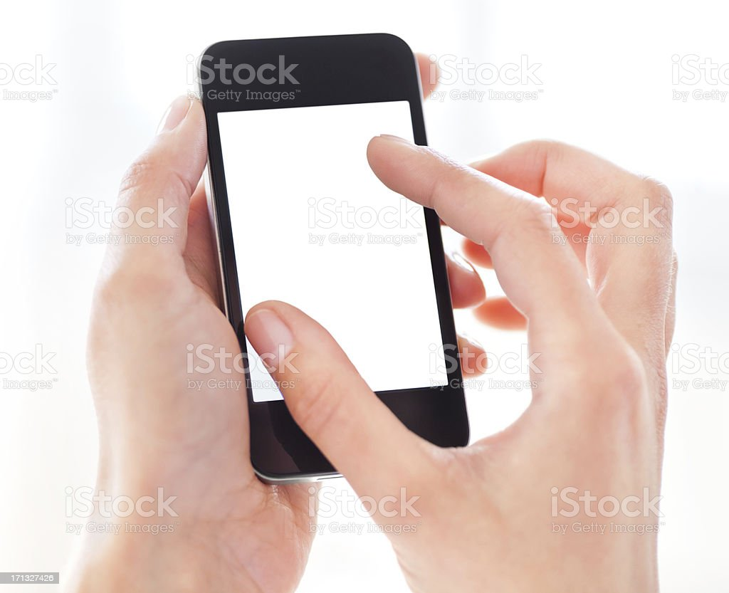 Hand Holding Smart Phone with Blank Screen stock photo