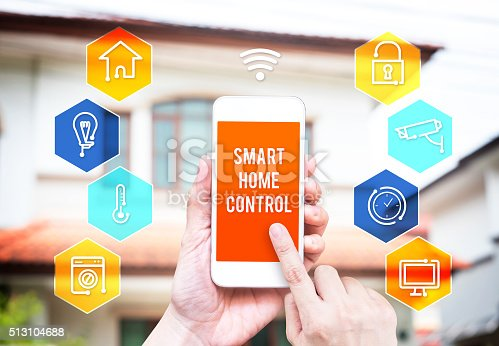 istock Hand holding smart phone with home control application 513104688