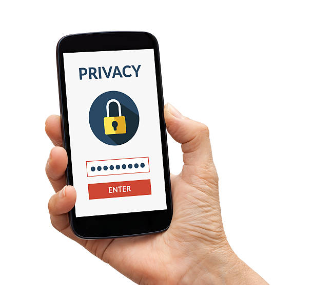 hand holding smart phone with online privacy concept on screen - flat design stock photos and pictures