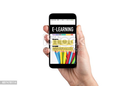 Hand Holding Smartphone and Showing E-Learning App