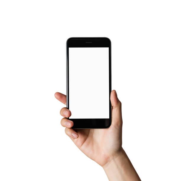 손을 잡고 스마트폰 빈 화면 격리입니다. - hand holding phone 뉴스 사진 이미지