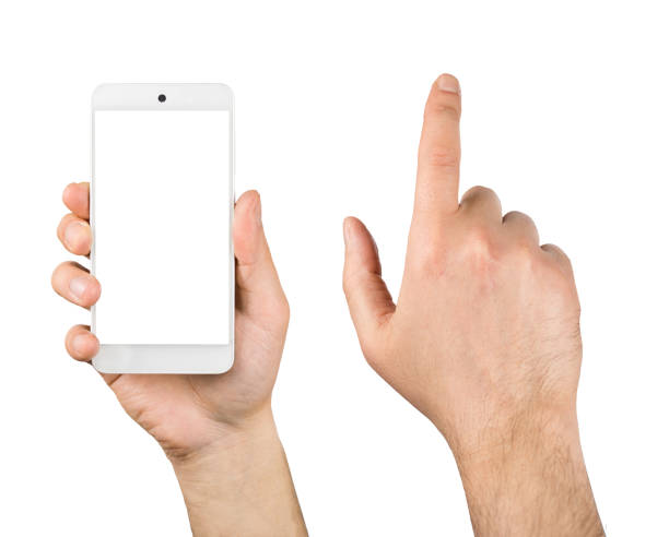 Hand holding Smartphone isolated on white background stock photo