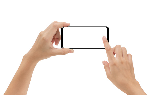 hand holding smartphone mobile and touching screen isolated on white background, cliping path inside