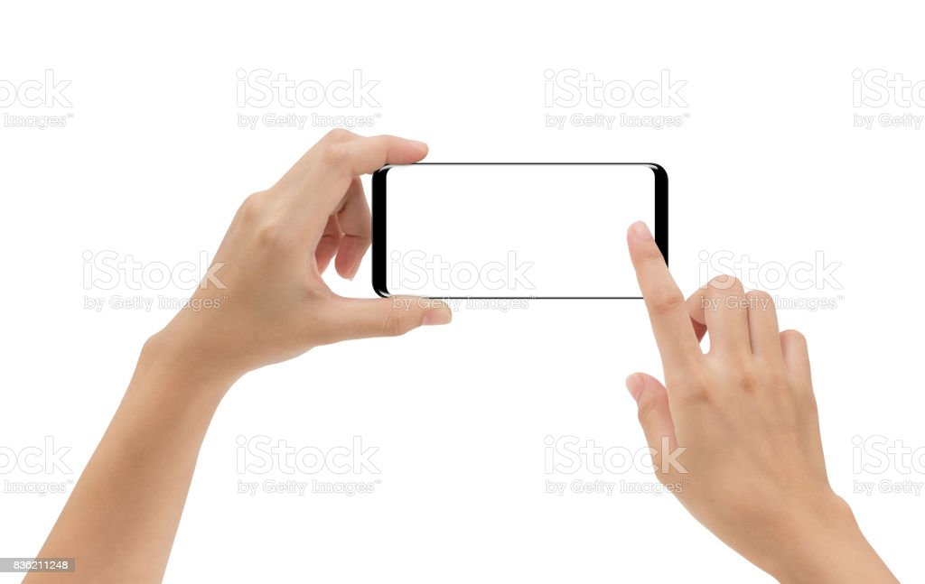 hand holding smartphone mobile and touching screen isolated on white background, cliping path inside stock photo