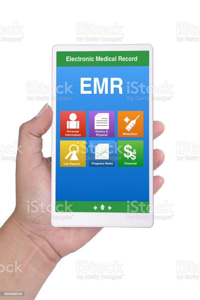 Hand holding smartphone showing electronic medical record menu on...