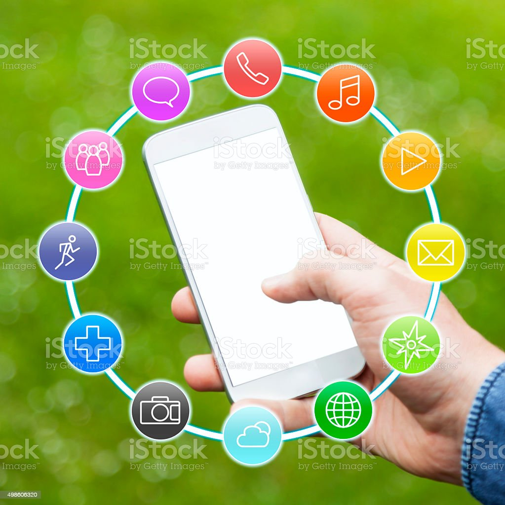 Hand holding Smartphone with Apps stock photo