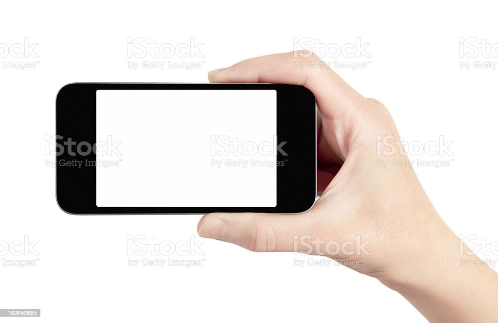 Hand holding smartphone with blank screen stock photo