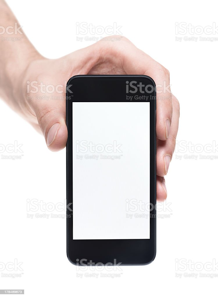 Hand holding smartphone with blank screen royalty-free stock photo