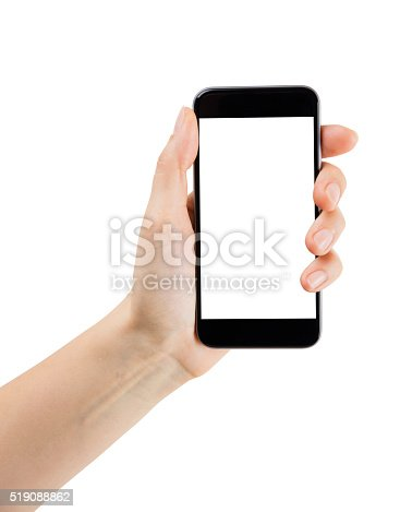 female hand holding smartphone, with clipping path
