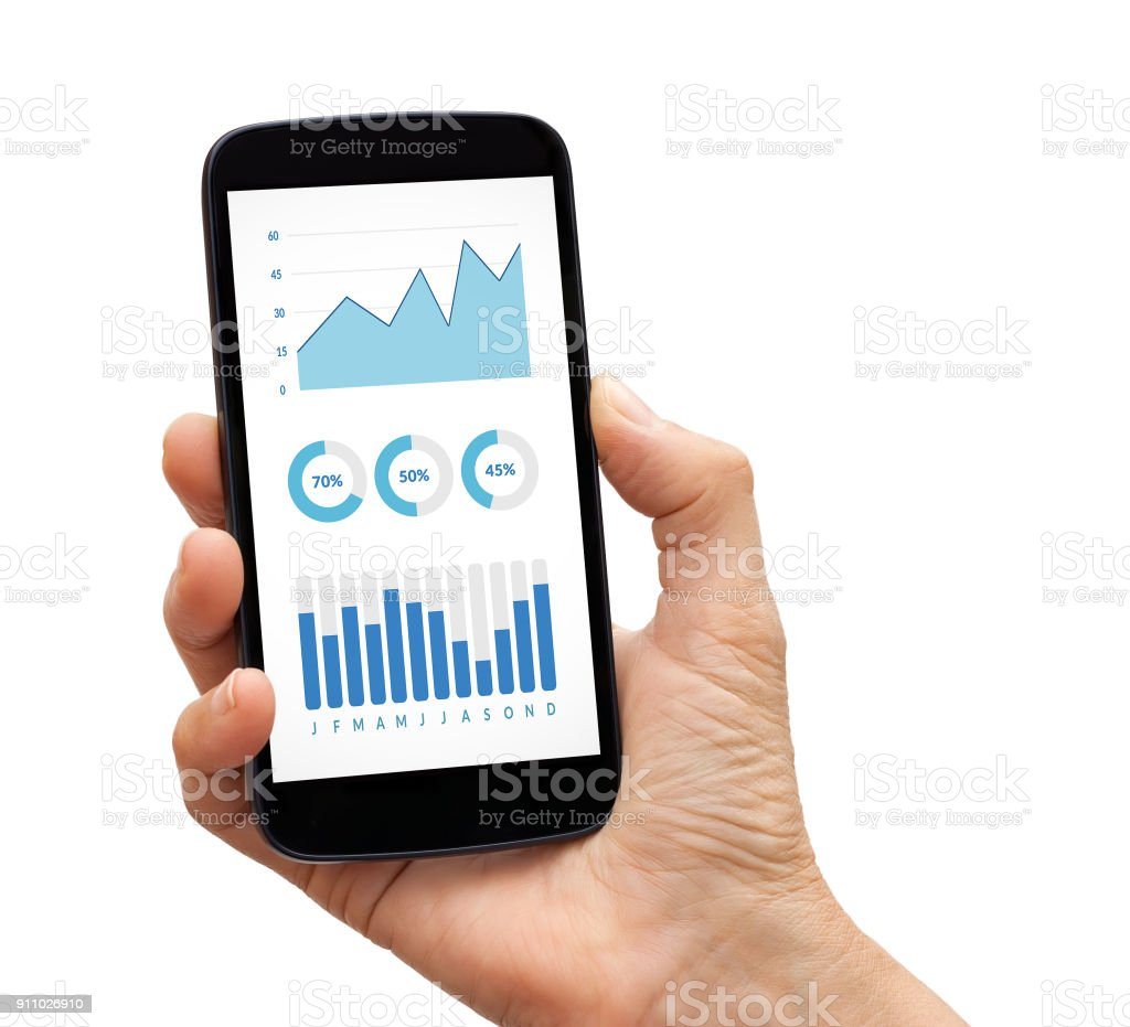 Hand holding smartphone with graphs and charts elements on screen stock photo