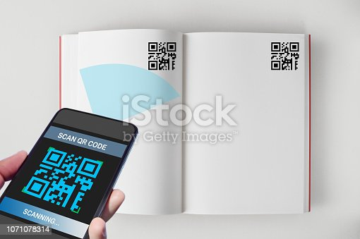 istock Hand holding smartphone with scanning QR code on open book screen on white background 1071078314