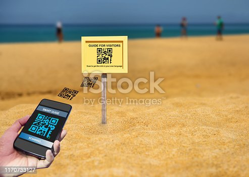 istock Hand holding smartphone with scanning QR code smart guide screen with guide for visitors sign on white wall background 1170733127