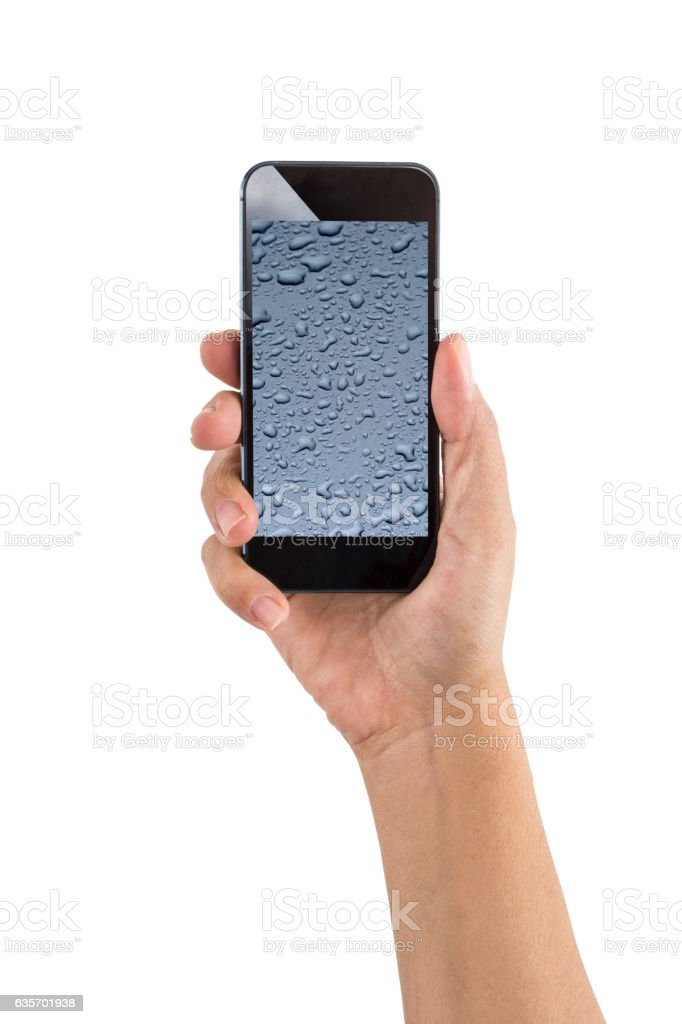 Hand holding Smartphone with Water Drops royalty-free stock photo