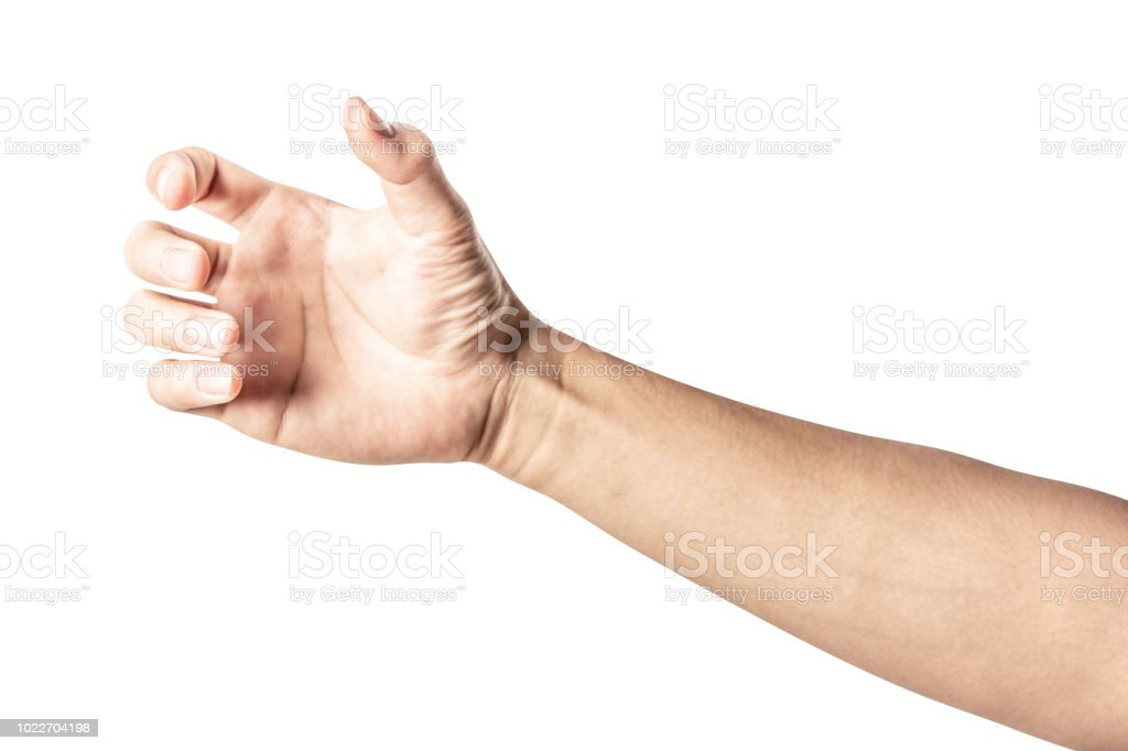 hand holding something like a bottle or can stock photo