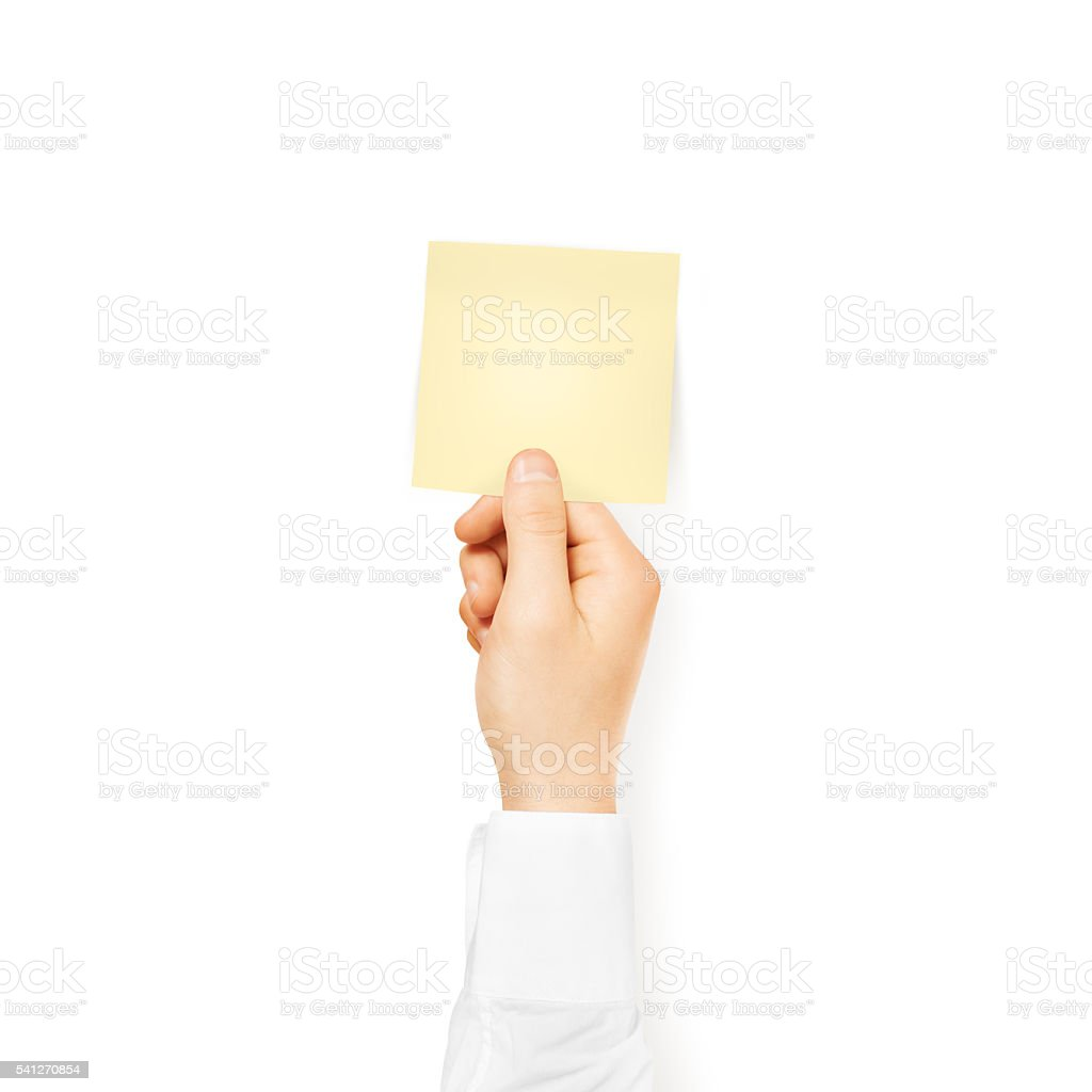 Hand Holding Square Blank Yellow Sticker Mock Up Isolated Stick Stock Photo