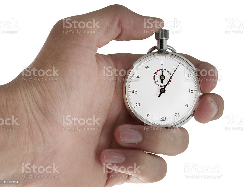 Hand Holding Stopwatch Close royalty-free stock photo