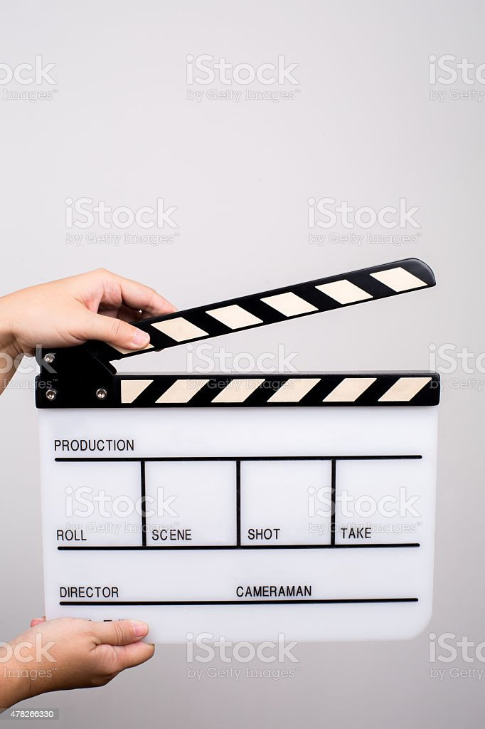 hand holding storyboard plate stock photo
