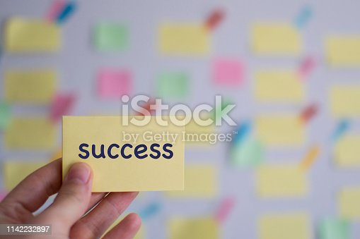 1130063472 istock photo A hand holding success sticky note in front of a kanban board 1142232897