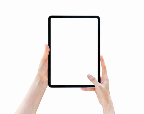 手拿平板電腦空白螢幕上隔離。 - 人手指 個照片及圖片檔