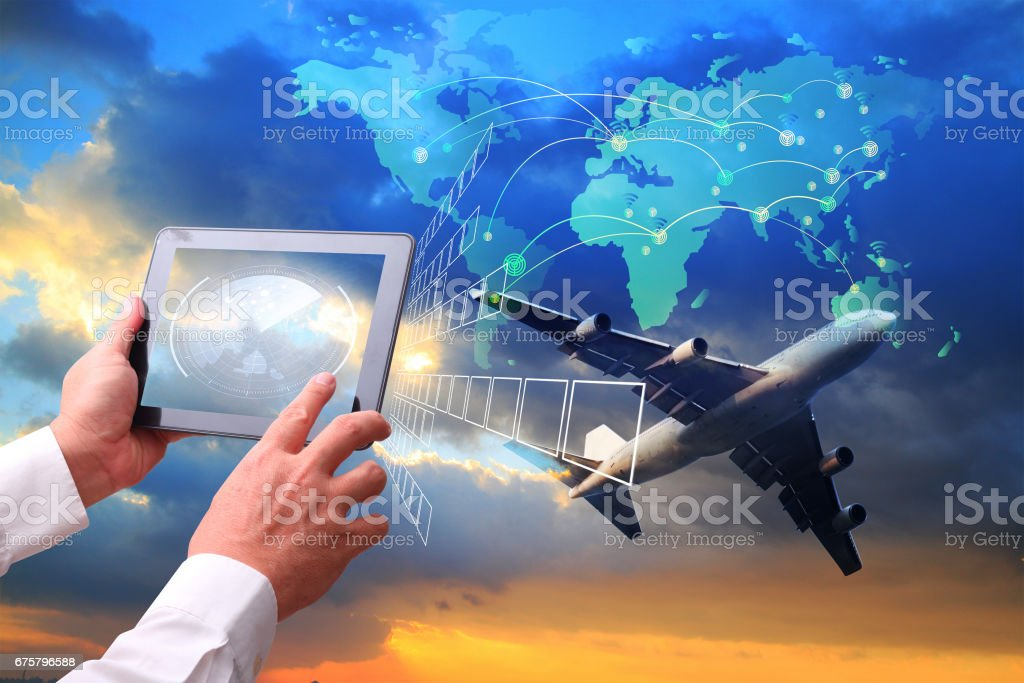 Hand holding tablet is pressing button Logistics connection technology interface global partner connection for logistic import export background. stock photo