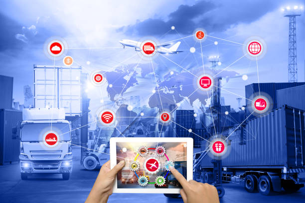 hand holding tablet is pressing button on touch screen interface in front logistics industrial container cargo freight ship - distribution warehouse stock photos and pictures