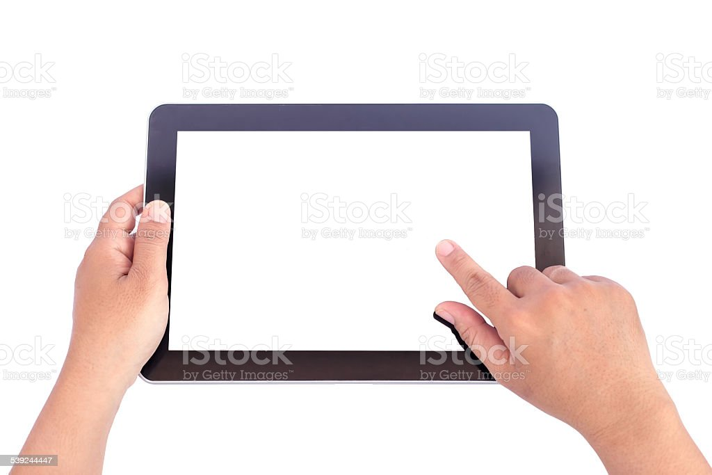 Hand holding tablet royalty-free stock photo