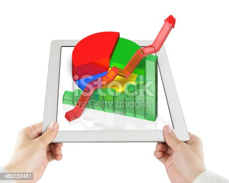 486439381istockphoto Hand holding tablet with 3d Chart 483233481