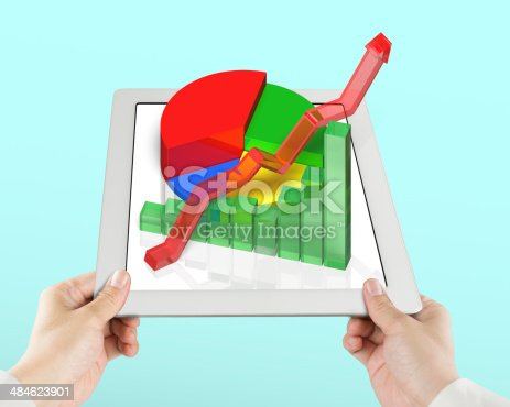 486439381istockphoto Hand holding tablet with 3d chart 484623901