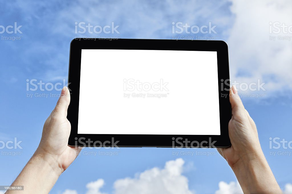 Hand holding Tablet with blanked out Screen royalty-free stock photo