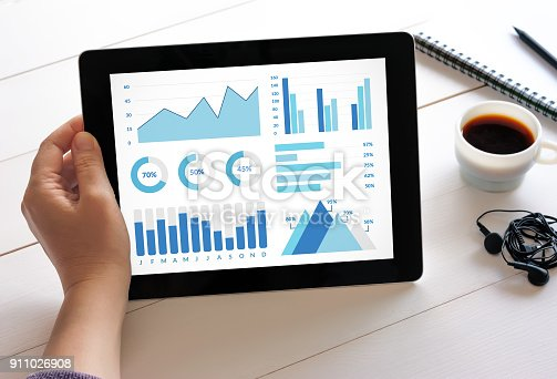 istock Hand holding tablet with graphs and charts elements on screen 911026908