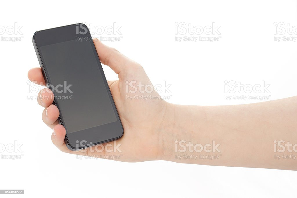 Hand Holding Tall Smartphone stock photo