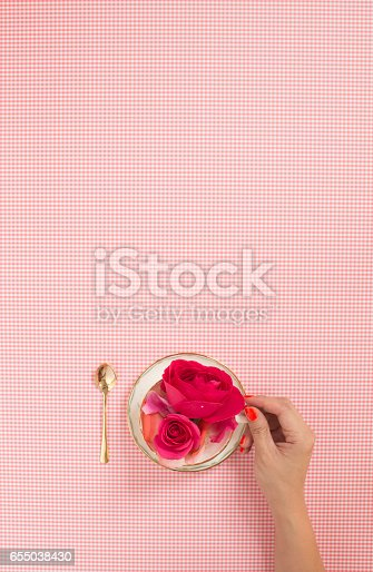 Female hand holding tea cup filled with fresh roses. Pink checks pattern text space background.