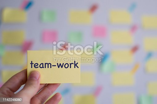952856170 istock photo A hand holding team-work sticky note in front of a kanban board 1142245092