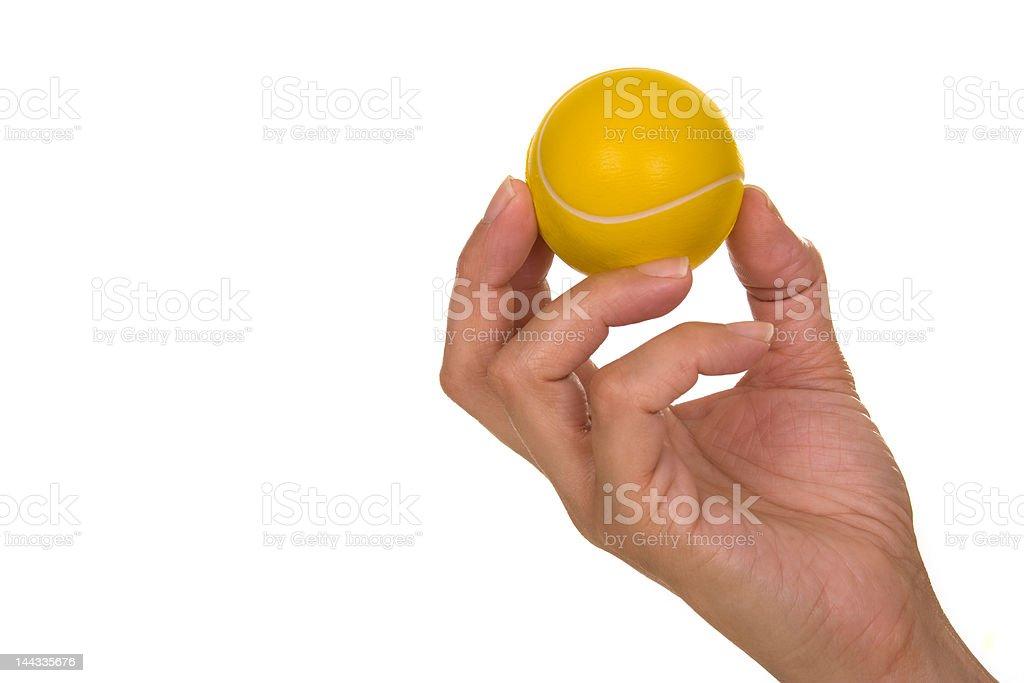 Mão segurando Bola de Ténis - fotografia de stock